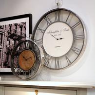 Horloge bois et métal chromé d60