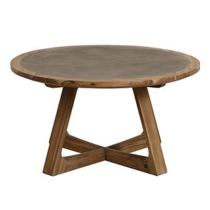 Table basse ronde contemporaine en acacia massif - Organic