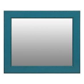 Miroir rectangulaire en bois bleu turquoise