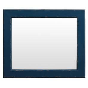 Miroir rectangulaire en bois bleu saphir