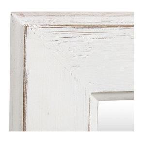 Miroir rectangulaire en bois blanc patiné