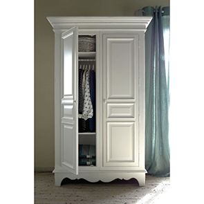 Armoire blanche 2 portes en bois - Harmonie - Visuel n°4