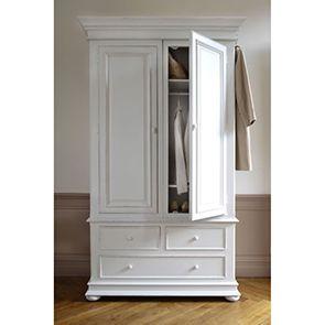 Armoire blanche 2 portes 3 tiroirs - Harmonie