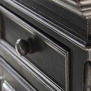 Meuble TV baroque noir 2 tiroirs - Harmonie