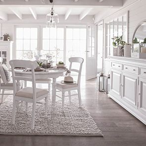 Chaise en bois blanc et tissu - Harmonie - Visuel n°2