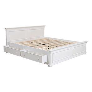 Lit 180x200 avec tiroirs en bois blanc satiné - Harmonie - Visuel n°3