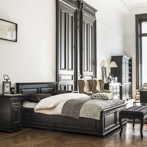 Lit 180x200 avec tiroirs en bois noir - Harmonie