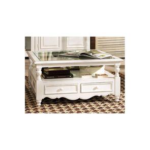 Table basse carrée blanche en bois - Harmonie