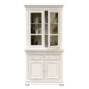 Buffet vaisselier blanc 2 portes vitrées - Harmonie