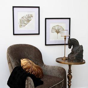 Tableaux décoratifs en bois feuilles (lot de 2)