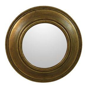 Miroir rond en bois doré