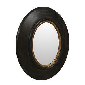 Miroir ovale en pin noir - Visuel n°1
