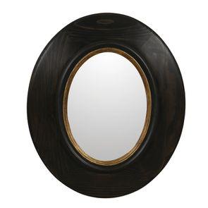 Miroir ovale en pin noir - Visuel n°3