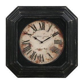 Horloge en bois noir vieilli