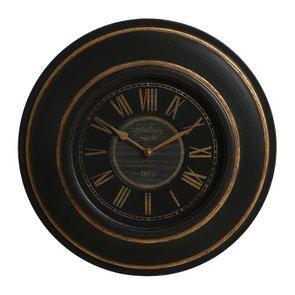 Horloge ronde bois noir et doré