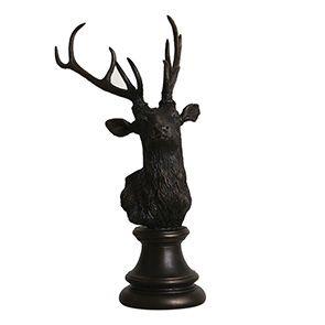 Statue tête de cerf noir patiné - Visuel n°4