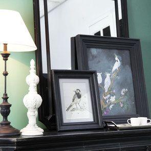 Lampe noire sur pied en bois et résine - Visuel n°4