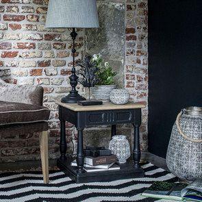 Lampe noire sur pied en bois et résine - Visuel n°7