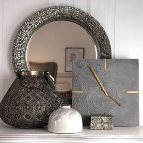 Miroir rond argenté vieilli