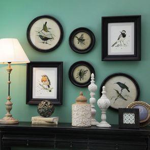 Lot de 2 tableaux dessin d'oiseaux