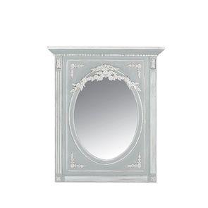 Miroir trumeau ovale gris rechampis blanc - Gustavien