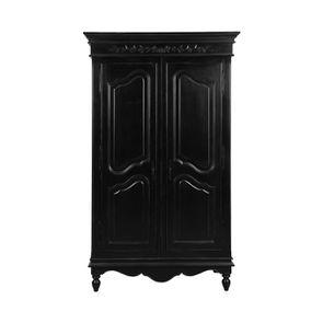 Armoire penderie noire 2 portes en bois - Romance - Visuel n°1