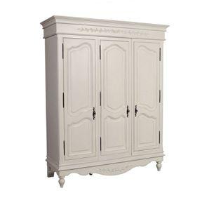 Armoire penderie blanche 3 portes en bois - Romance - Visuel n°5