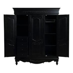 Armoire penderie noire 3 portes en bois - Romance - Visuel n°2