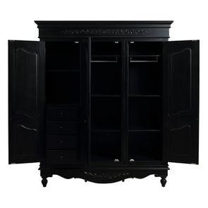 Armoire penderie noire 3 portes en bois - Romance - Visuel n°3