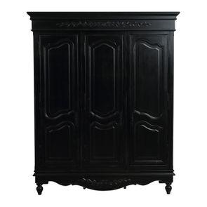 Armoire penderie noire 3 portes en bois - Romance - Visuel n°1