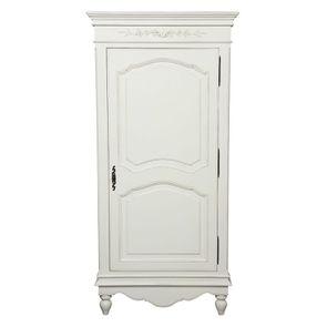 Armoire penderie bonnetière blanche 1 porte en bois - Romance