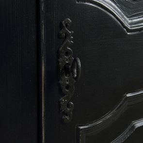 Armoire penderie bonnetière noire 1 porte en bois - Romance - Visuel n°10