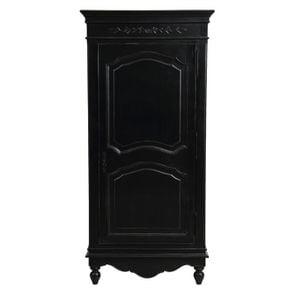 Armoire penderie bonnetière noire 1 porte en bois - Romance - Visuel n°1
