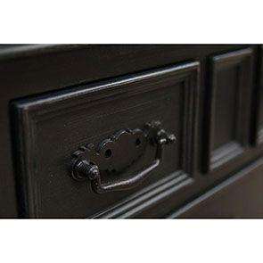 Buffet bas noir 2 portes 6 tiroirs - Romance