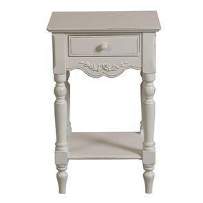 Table de chevet blanche 1 tiroir - Romance