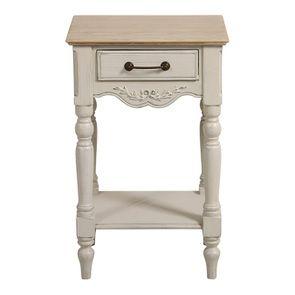 Table de chevet 1 tiroir lin vieilli - Romance