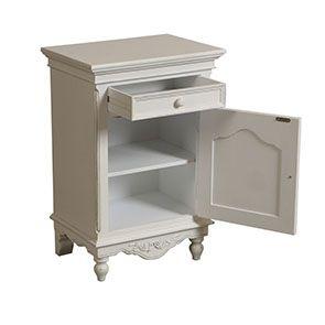 Table de chevet blanche en bois - Romance - Visuel n°3