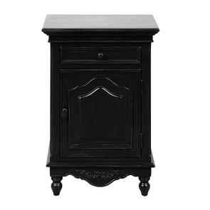 Table de chevet noire 1 porte 1 tiroir - Romance