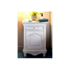 Table de chevet blanche 1 porte 1 tiroir - Romance - Visuel n°4