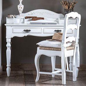 Secrétaire blanc 4 tiroirs en bois - Romance - Visuel n°3