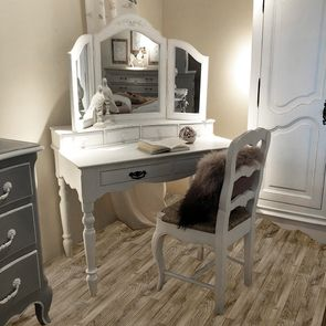 Bureau 2 tiroirs en bois blanc - Romance - Visuel n°4