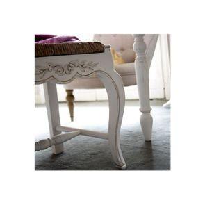 Chaise paillée en bois blanc vieilli - Romance - Visuel n°5