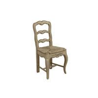 Chaise paillée en bois blanc cassé vieilli laqué - Romance