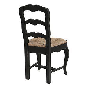 Chaise paillée en bois noir - Romance - Visuel n°7