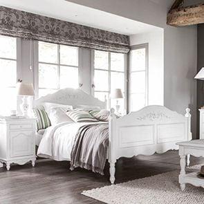 Lit 140x190 en bois blanc vieilli - Romance - Visuel n°2