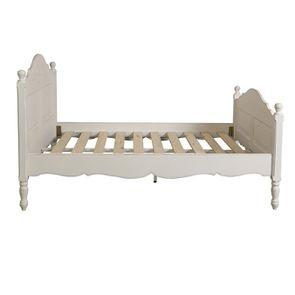 Lit 140x190 en bois blanc vieilli - Romance