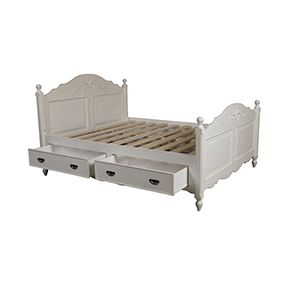 Lit 160x200 avec tiroirs en bois blanc vieilli - Romance - Visuel n°7