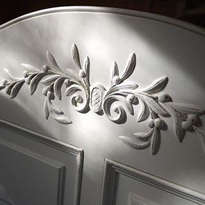Lit 140x190 avec tiroirs en bois blanc vieilli - Romance - Visuel n°3