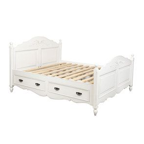 Lit 140x190 avec tiroirs en bois blanc vieilli - Romance - Visuel n°7