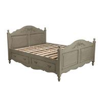 Lit 140x190 avec tiroirs en bois gris vieilli laqué - Romance